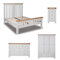 Melrose French Grey And Oak Bedroom Furniture.£55-£699.