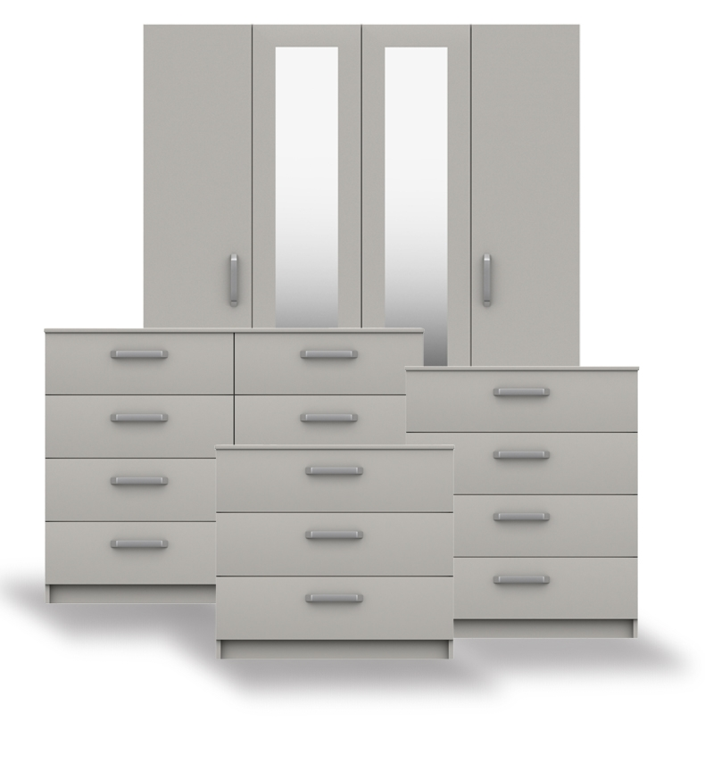 Arden Cashmere Grey High Gloss Bedroom Furniture. From £129.
