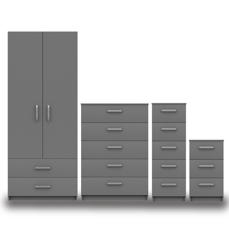 Arden Dust Grey High Gloss Bedroom Furniture. From £129.