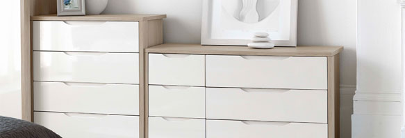 Champagne Avola With Cream Gloss Bedroom Furniture.