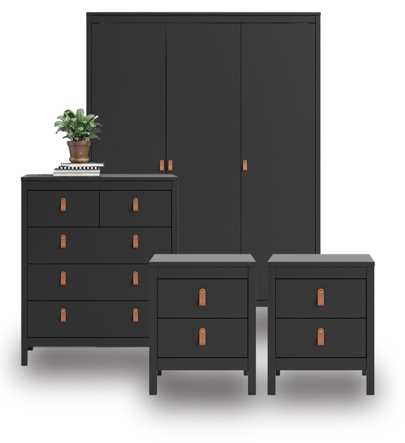 Barton Matt Black Bedroom Furniture. From £109.