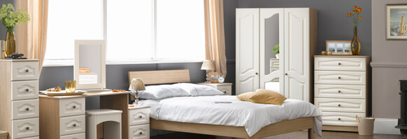 Bordeaux Cream Bedroom Furniture.£89-£469.