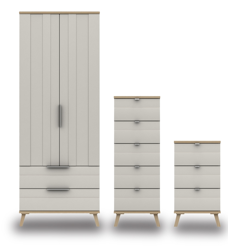 Derby Grey White Natural Oak Bedroom Furniture. From £199.