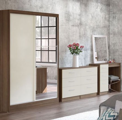 Links Walnut And Cream High Gloss Bedroom Furniture.£89-£399.