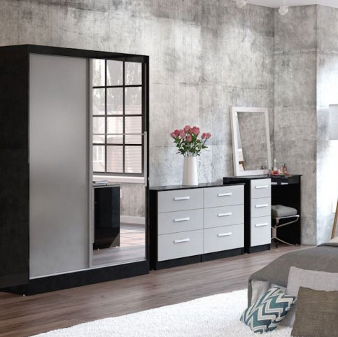 Links Black And Grey High Gloss Bedroom Furniture. £89-£399.