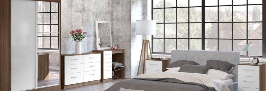 Links Walnut And White High Gloss Bedroom Furniture. £89-£399.