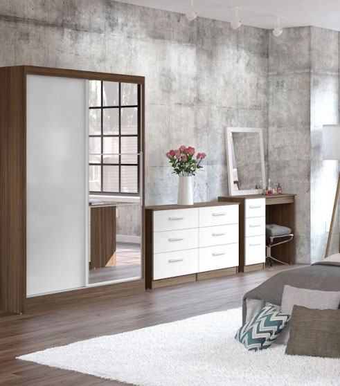 Links Walnut And White High Gloss Bedroom Furniture   89  399. Bedroom Furniture