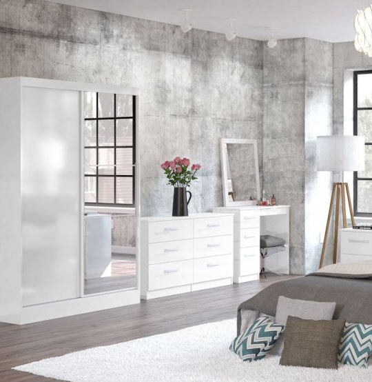 Links White High Gloss Bedroom Furniture. £89-£399.