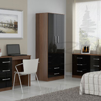 Links Black High Gloss Bedroom Furniture.£69-£249.