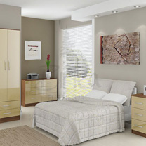 Links Cream High Gloss Bedroom Furniture.£69-£249.