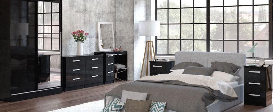 Links High Gloss Black Bedroom Furniture.£89-£399.