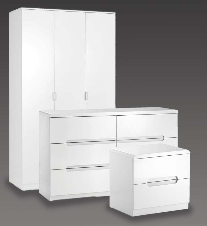 Manchester White High Gloss Bedroom Furniture. From £49.