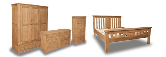 Melrose Country Rustic Oak Bedroom Furniture. £69-£899.