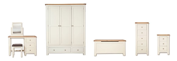 Melrose Ivory And Oak Bedroom Furniture. £55-£699.