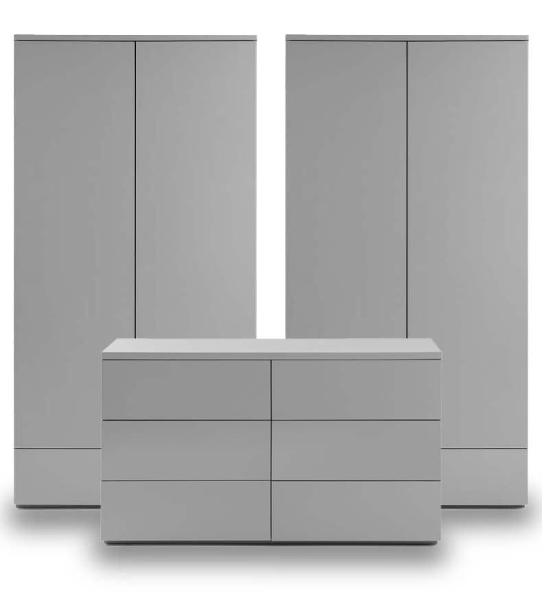 Montage Grey High Gloss Bedroom Furniture. From £99.