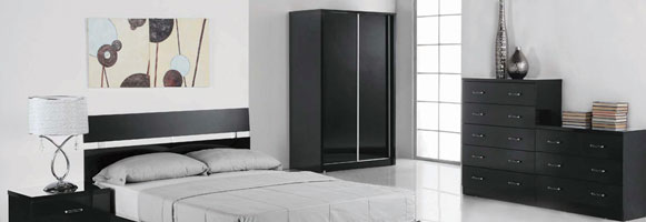 Novello Black High Gloss Bedroom Furniture.£49-£259.