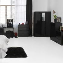 Orient Black High Gloss Bedroom Furniture.