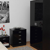 Otto Black High Gloss Bedroom Furniture.£35-£329.