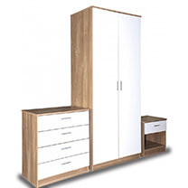 Otto White And Oak High Gloss Bedroom Furniture.