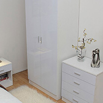 Otto White High Gloss Bedroom Furniture.£35-£329.