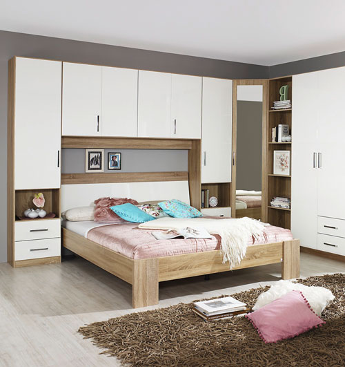 Rauch Sammy High Gloss White And Oak Bedroom Furniture.£65-£519.