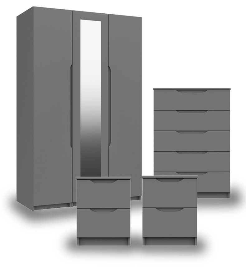 Sutton Dust Grey High Gloss Bedroom Furniture.