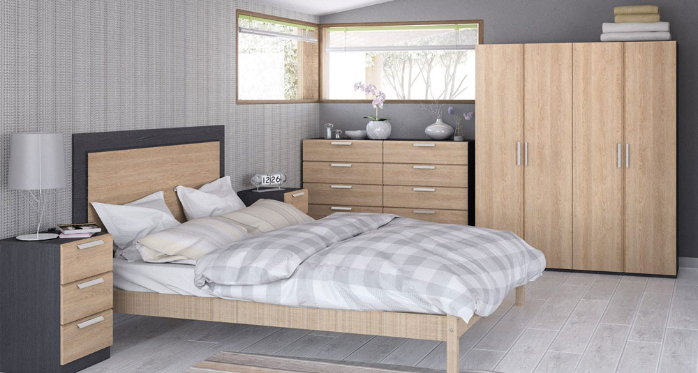 Waterfall Graphite And Oak Bedroom Furniture. £99-£379.