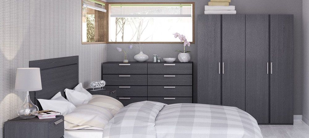 Waterfall Graphite Bedroom Furniture. £99-£379.