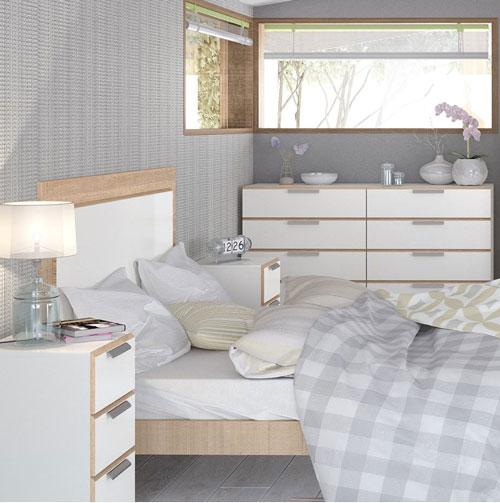 Waterfall White And Oak Bedroom Furniture. £99-£379.
