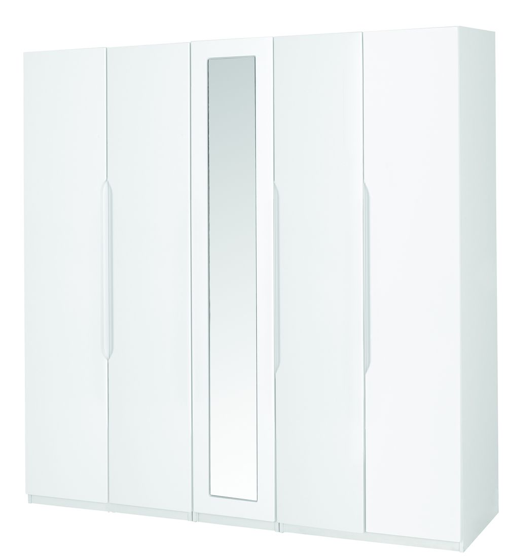 Alpine white gloss super size 5 door robe with mirror for Alpine high gloss bedroom furniture