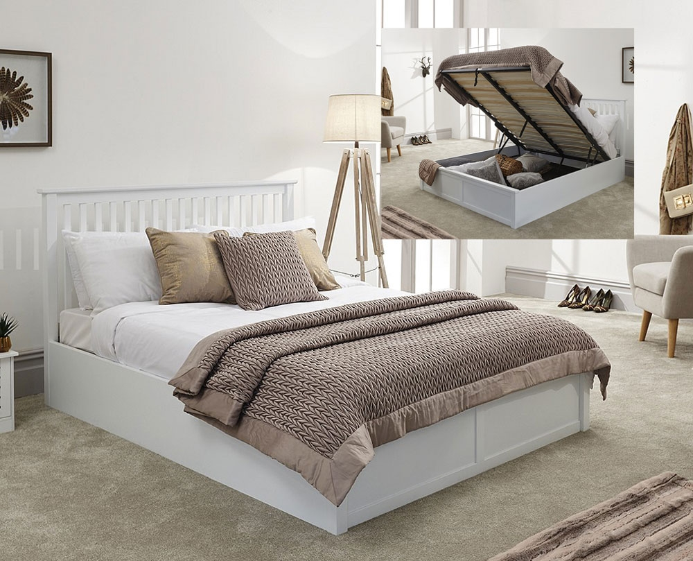 Connect White Wooden King Size Ottoman Bed Frame King