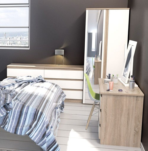 Oak Bed Bedroom Black And White Wall Bedroom Ideas Navy Blue Bedroom Inspiration Bedroom With Cathedral Ceiling: Avenue Truffle Oak And White Gloss Single Wardrobe