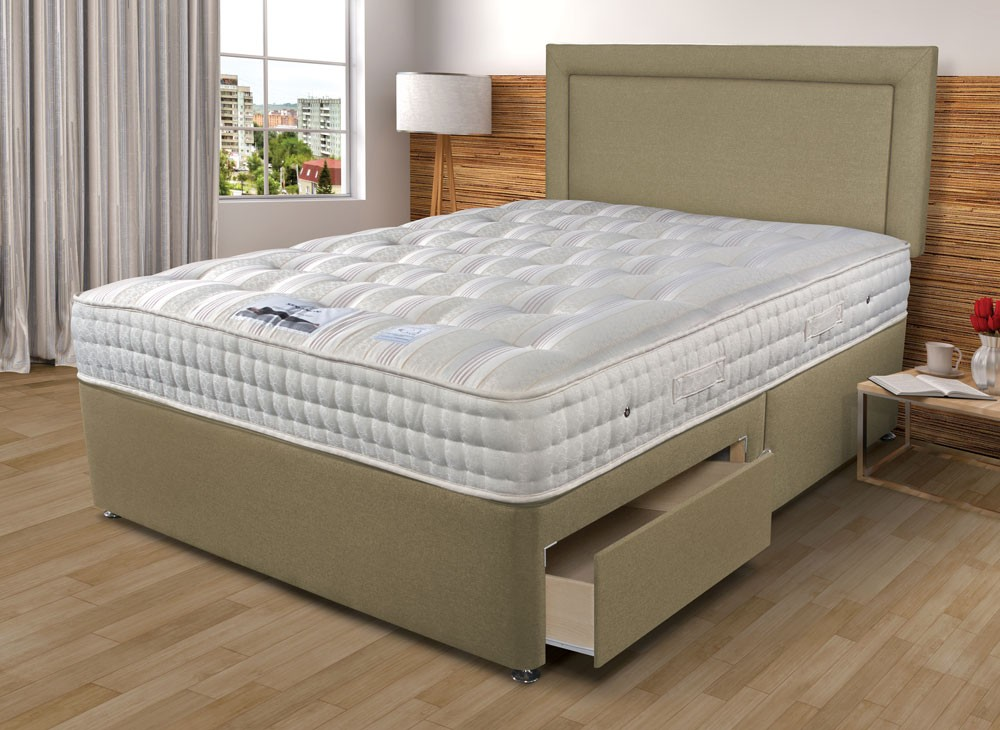Sleepeezee backcare luxury 1400 single divan bed for Single divan and mattress