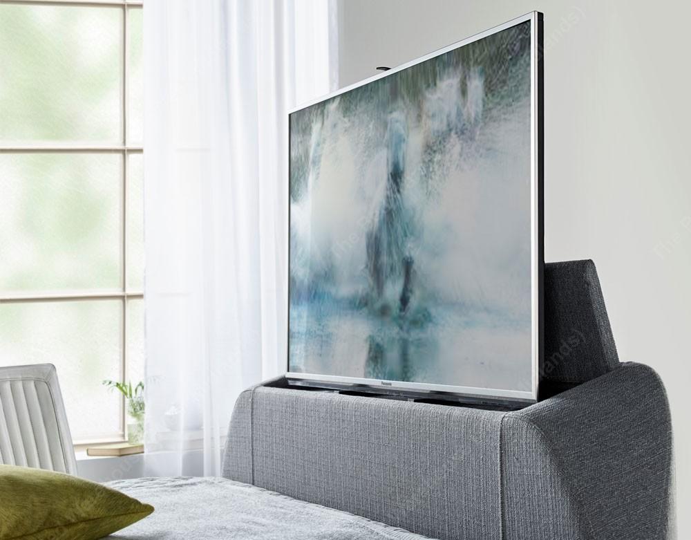 Barney Grey King Size Ottoman Storage TV Bed Frame
