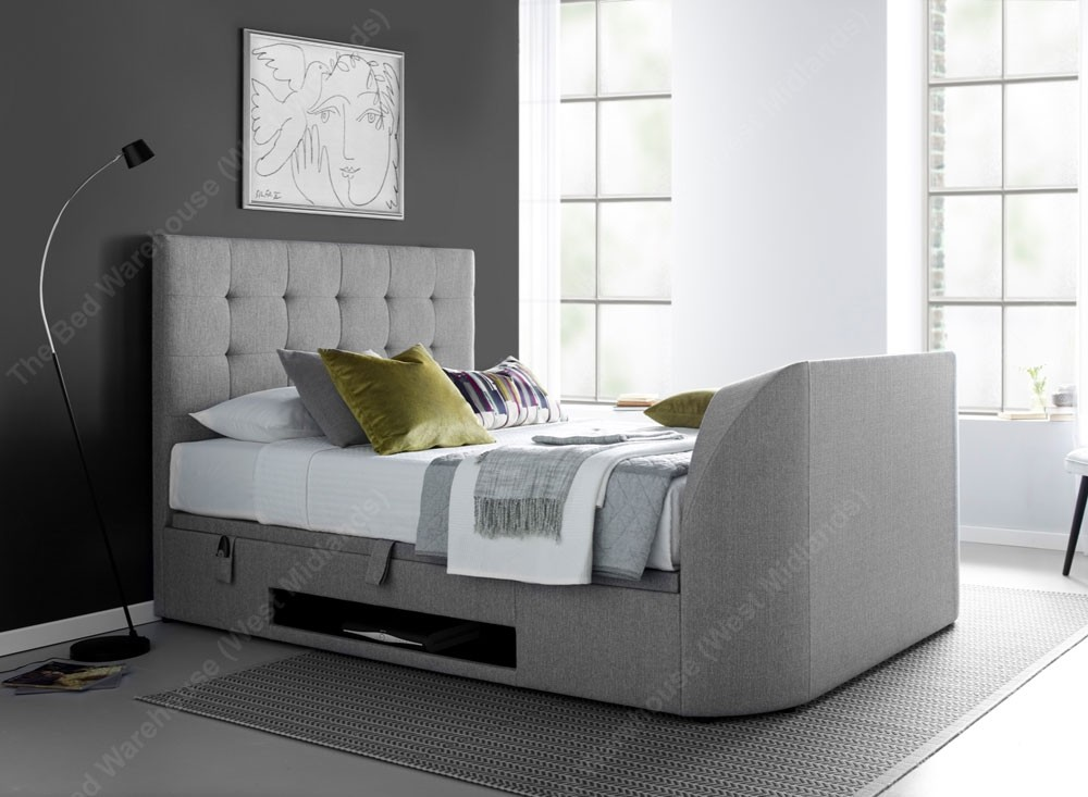 Barney Grey Double Ottoman Storage Tv Bed Frame