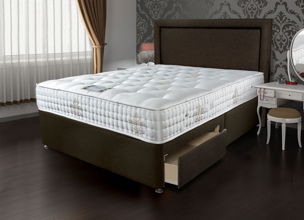 Sleepeezee bordeaux 2000 single divan bed for Single divan and mattress