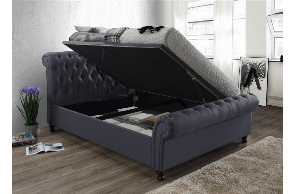 Castellano Charcoal Double Ottoman Storage Bed Frame