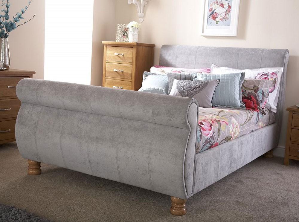 chicago silver kingsize sleigh bed frame kingsize bed. Black Bedroom Furniture Sets. Home Design Ideas