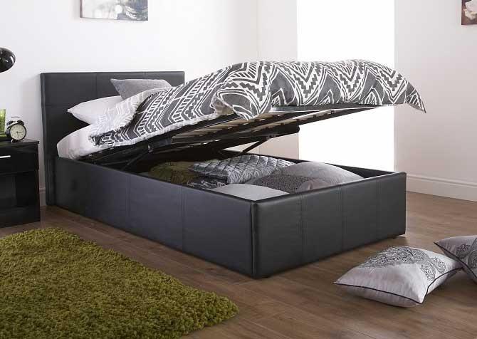 End Lift Ottoman Storage Black Or Brown Single Bed Frame
