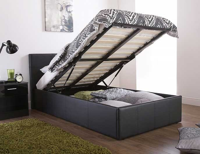 End Lift Ottoman Storage Black Double Bed Frame
