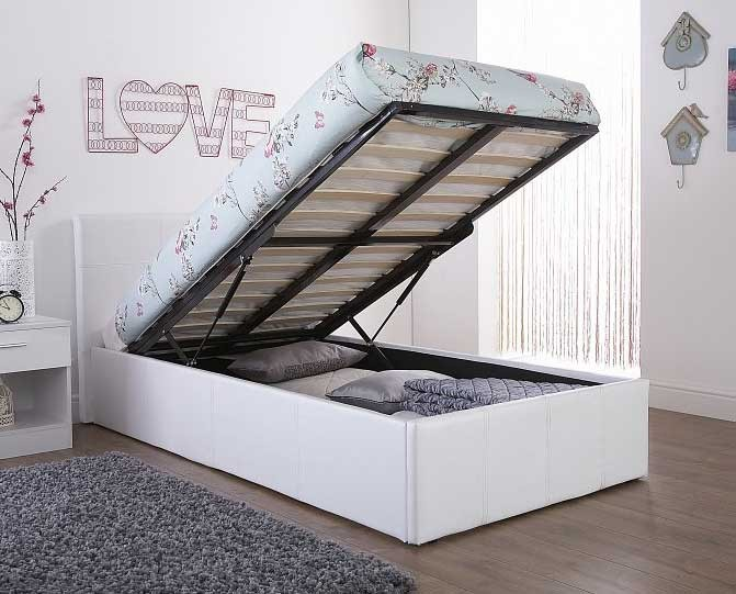 End Lift Ottoman Storage White Double Bed Frame