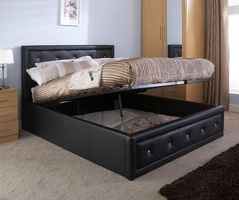 Holly Black King Size Ottoman Storage Bed Frame