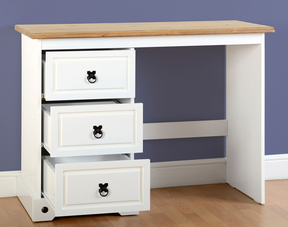 Corona white 3 drawer dressing table for White dressing table with drawers