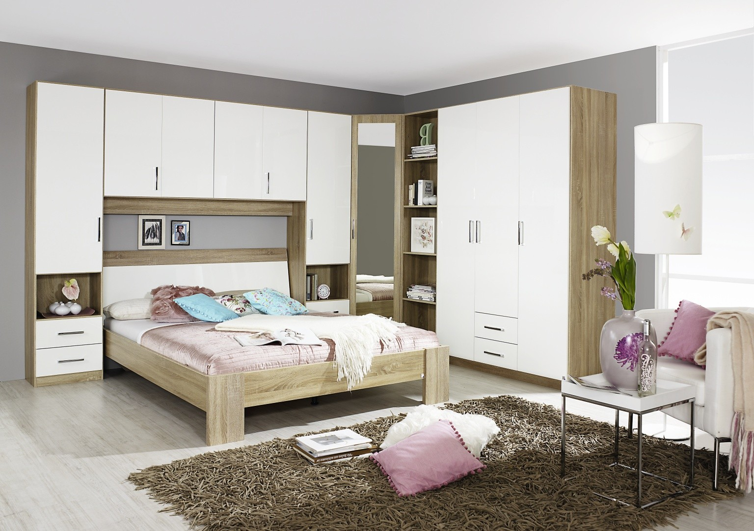rauch sammy high gloss white and oak single door corner. Black Bedroom Furniture Sets. Home Design Ideas