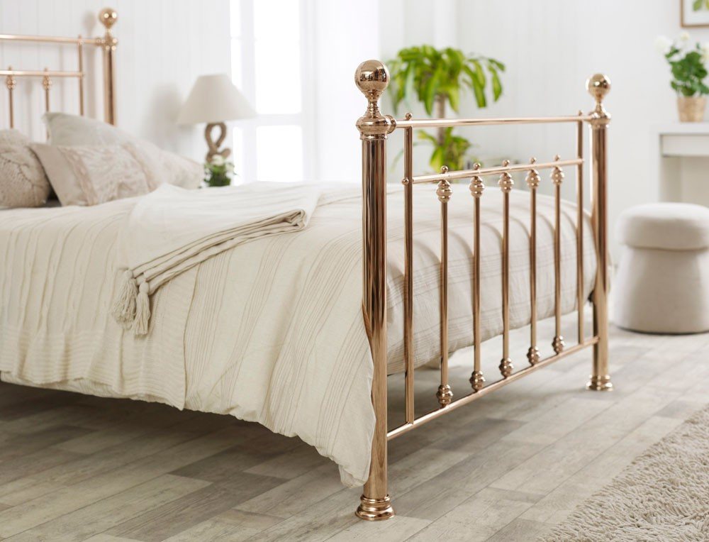 libro rose gold king size bed frame 11703 | libra in rose gold detail image 1 2 1