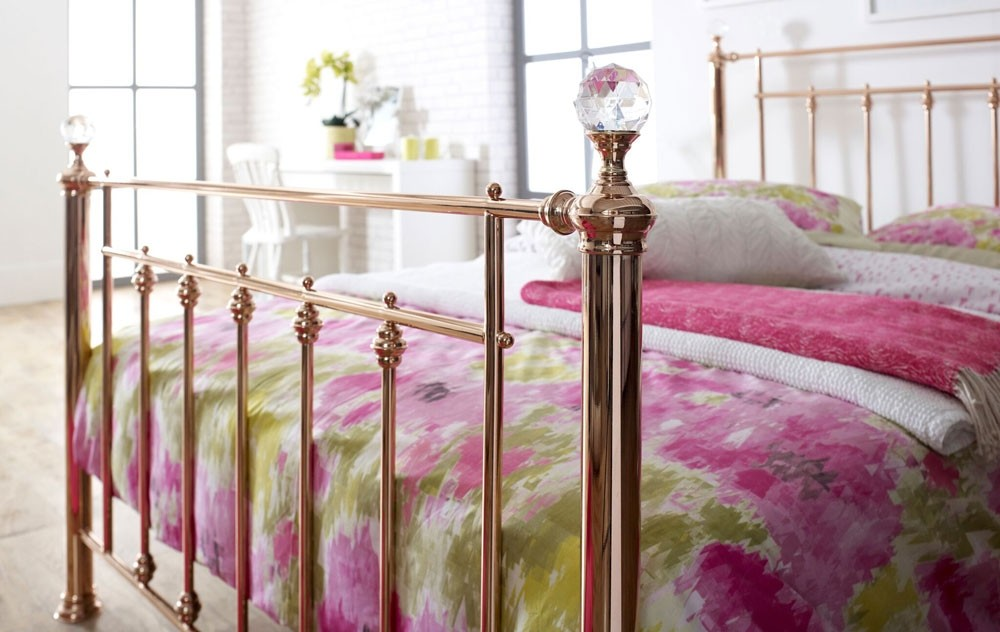 5b887badf205a Libro Rose Gold King Size With Crystal Finials Bed Frame