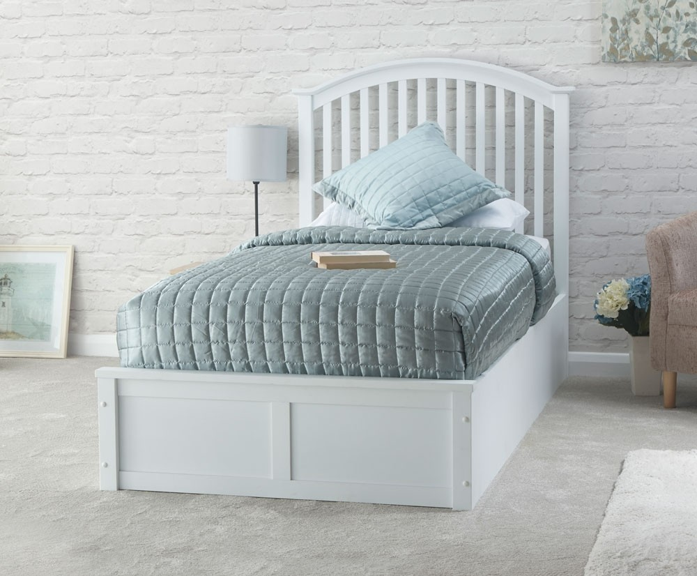 Ottomans Lifestyle Single Ottoman: Madrillo White Single Ottoman Storage Bed Frame