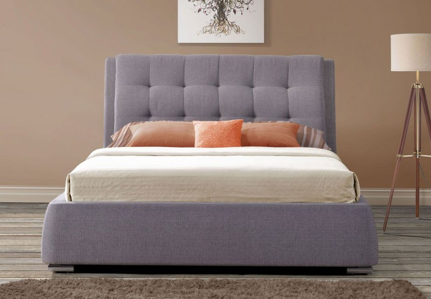 May Grey Fabric Double 4 Drawer Bed Frame Double Bed