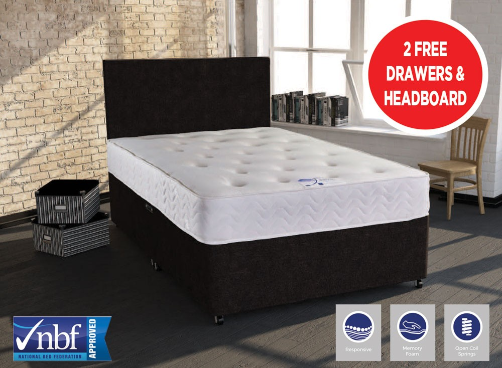 Memory flex double 2 drawer divan bed and free headboard Three quarter divan bed