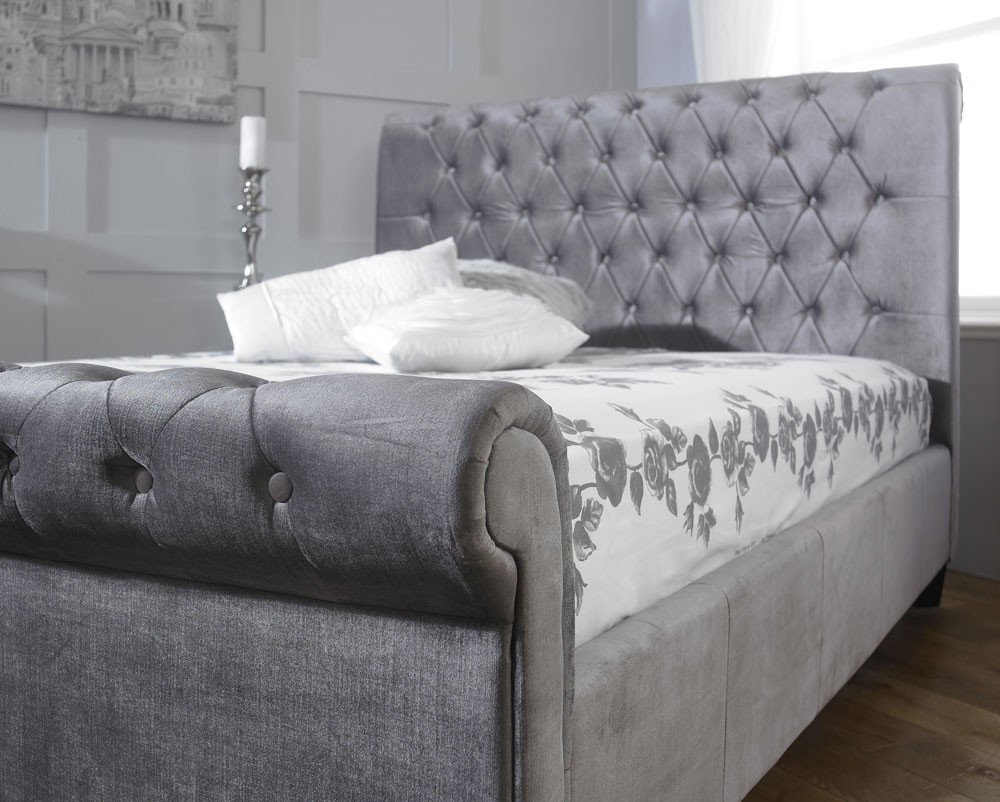Exceptionnel More Views. Orbital Plush Silver Velvet Bed Frame ...